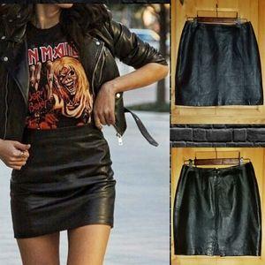 Petite Sophisticate Leather Mini Skirt